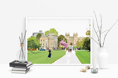 Art Prints, Personalized Art Print, Handmade, Unique Gifts, Windsor Art, Windsor Castle Art, Home Decor