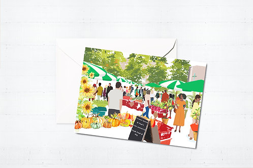 Njeri Illustrated Greeting Card Stoke Newington Farmer's Market Hackney London City Scene Art Illustration