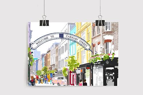 Art Prints, Personalized Art Print, Handmade, Unique Gifts, London Art, Carnaby Street, Bespoke Art, Home Decor, City Art