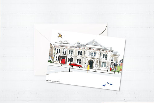 Njeri Illustrated Greeting Card Chiswick Town Hall West London City Scene Art Illustration