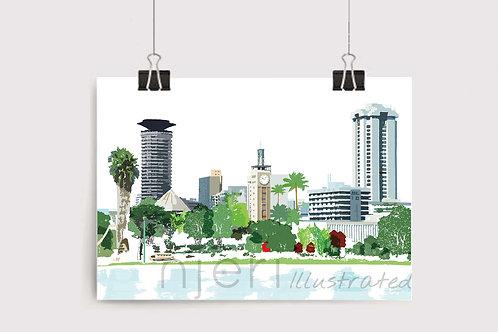 Wall Art Print Nairobi City African Scene Art Illustration