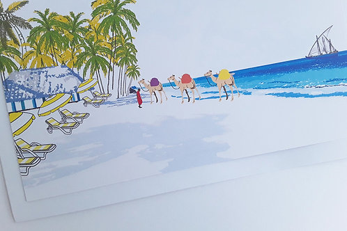 Njeri Illustrated Greeting Card Kenya Coast Beach Camel Masai Holiday African Art Illustration