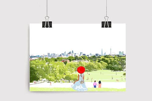 Primrose Hill Art Print, Personalized Gift, Bespoke Art, Birthday Gift, London Art, Letterbox Gift, For Him, For Her