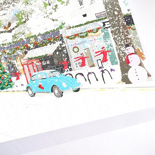 Njeri Illustrated Christmas Holiday Greeting Card Holland Park Avenue London City Art Illustration