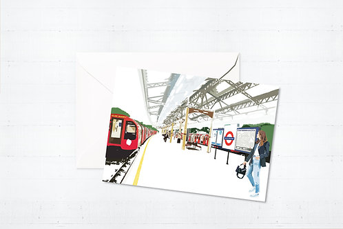 Njeri Illustrated Greeting Card Ealing Broadway Station London City Scene Art Illustration