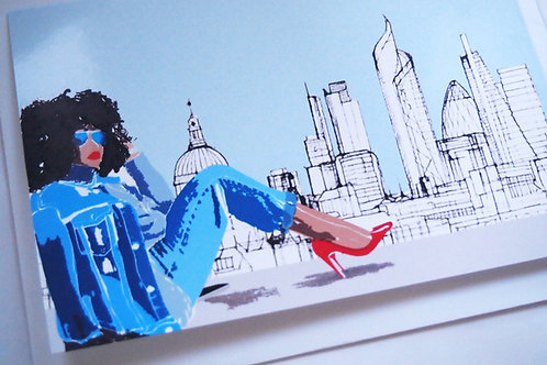 Njeri Illustrated Greeting Card Girl View Afro Lady Chic Classy Fashion London City Scene Art Illustration
