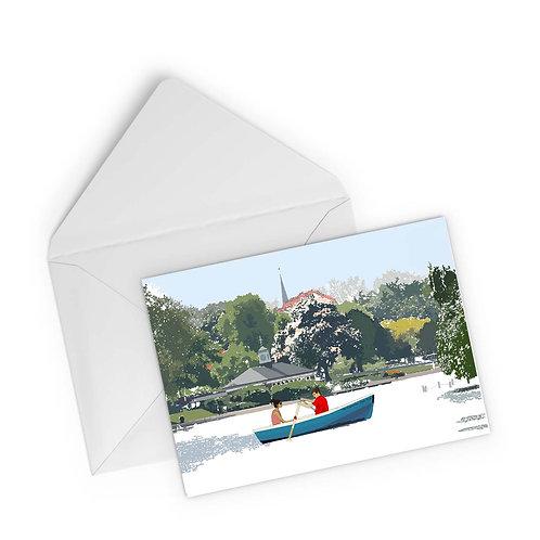Njeri Illustrated Greeting Card The Serpentine Hyde Park Row Boat London City Scene Art Illustration