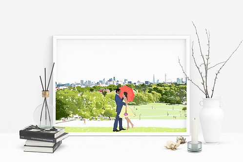 Primrose Hill Art Print, Personalized Gift, Valentine's Day, Couples Gift, Letterbox Gift, For Him, For Her, London Art