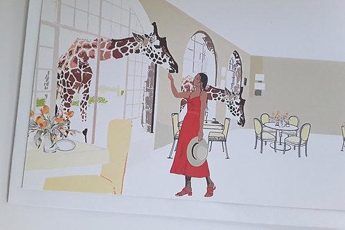 Greeting Card Giraffe Manor Kenya Camel African Scene Art Illustration
