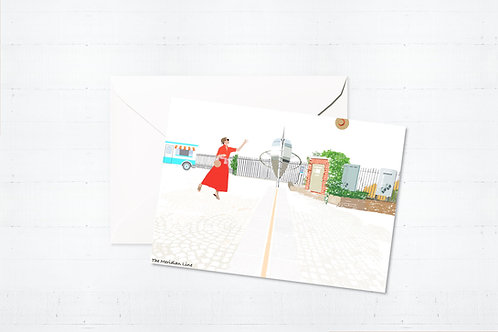 Njeri Illustrated Greeting Card The Meridian Line South London City Scene Art Illustration