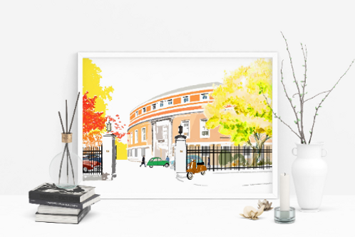 Art Prints, Personalized Art Print, Handmade, Unique Gifts, Stoke Newington Art, Stoke Newington Town Hall, Home Decor