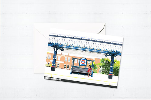 Njeri Illustrated Greeting Turnham Green Station West London City Scene Art Illustration