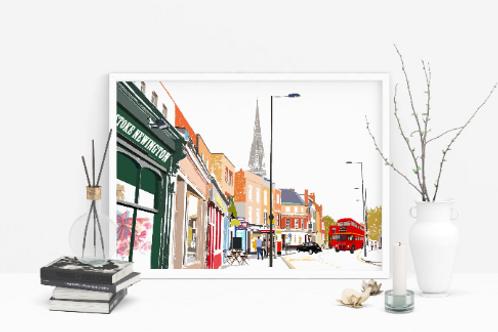 Art Prints, Personalized Art Print, Handmade, Unique Gifts, Stoke Newington Art, Church Street Art, Home Decor