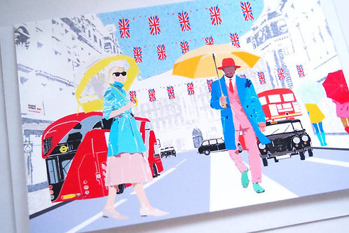 Njeri Illustrated Greeting Card Regent Street Umbrella Fashion London City Scene Art Illustration