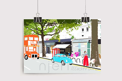 Art Prints, Personalized Art Print, Handmade, Unique Gifts, Gift for Him and Her, London Art, Holland Park, High Street