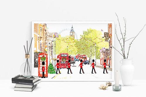 Christmas Art Prints, Handmade, Wall Art, London Art, Holiday Print, Thinking of You, Personalized Gift, Christmas Gift