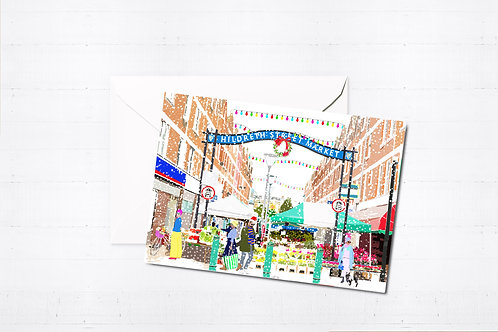 Njeri Illustrated Christmas Greeting Card Hildreth Street Market Balham South London City Scene Art Illustration