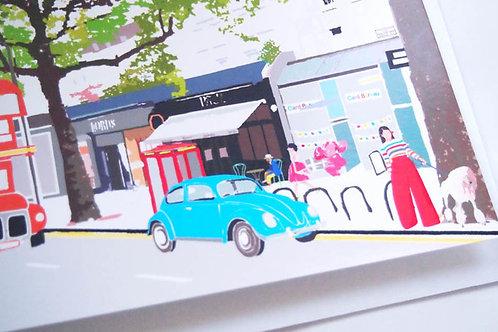 Njeri Illustrated Greeting Card Holland Park Avenue Beetle London City Scene Art Illustration