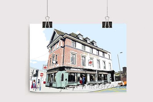 Njeri Illustrated Wall Art Print The Bedford Pub Balham South London City Scene Illustration