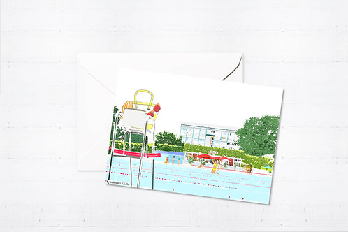 Njeri Illustrated Greeting Card Brockwell Lido London City Scene Art Illustration
