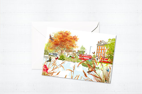 Njeri Illustrated Greeting Card Barnes Pond London Barnes Richmond Scene Art Illustration