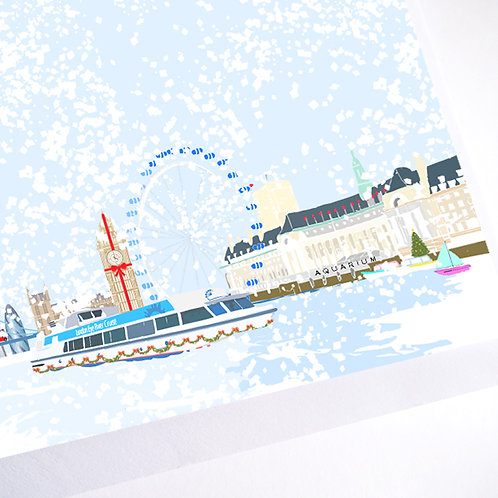Njeri Illustrated Christmas Holiday Greeting Card River Thames London Eye City Art Illustration