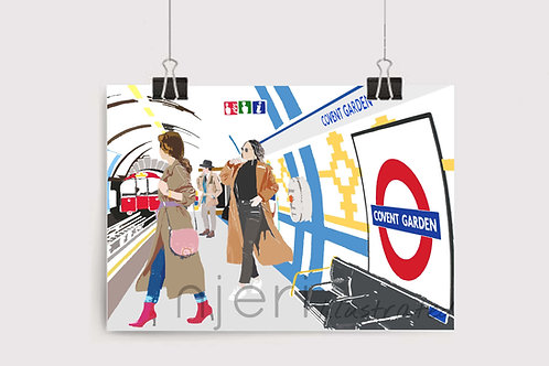 Art Prints, Personalized Art Print, Handmade, Unique Gifts, Gift for Him and Her, London City Art, Covent Garden Station