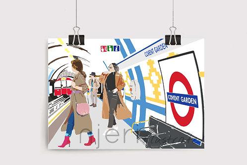 Njeri Illustrated Wall Art Print Covent Garden Tube Train Station London Transport Chic Hip Trendy City Scene Illustration