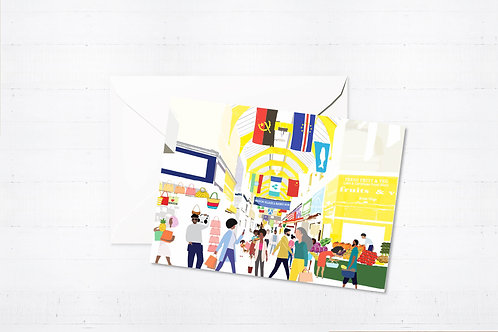 Njeri Illustrated Greeting Card Brixton Village London City Scene Art Illustration