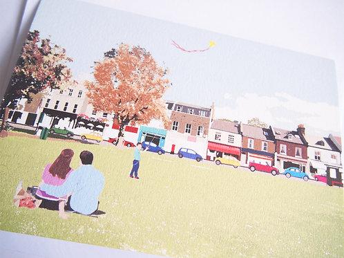 Njeri Illustrated Greeting Card Wandsworth Common South London City Scene Art Illustration