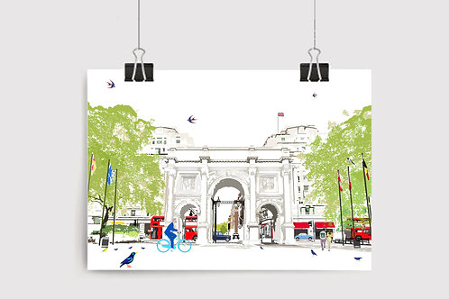 Art Prints, Personalized Art Print, Handmade, Unique Gifts, Gift for Her, Gift for Him, London Art, Marble Arch, City Art