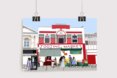 Njeri Illustrated Wall Art Print Tooting Market London City Scene Art Illustration