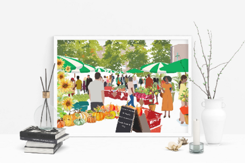 Art Prints, Personalized Art Print, Handmade, Unique Gifts, Stoke Newington Art, Farmer's Market, Home Decor