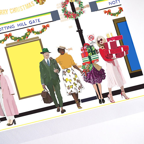 Njeri Illustrated Christmas Holiday Greeting Card Notting Hill Gate Tube London Transport City Art Illustration