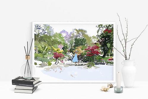 Kyoto Gardens Art Print, Personalized Gift, Bespoke Art, Birthday Gift, London Art, Letterbox Gift, Gift for Her