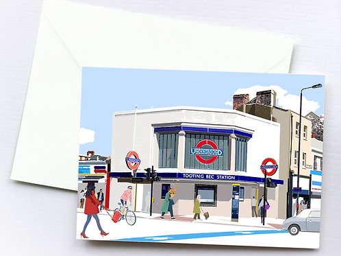 Tooting Bec Station Greeting Card Box Set, Personalized Gift, Bespoke, Birthday, Gift for Him & Her, London Art, Letterbox