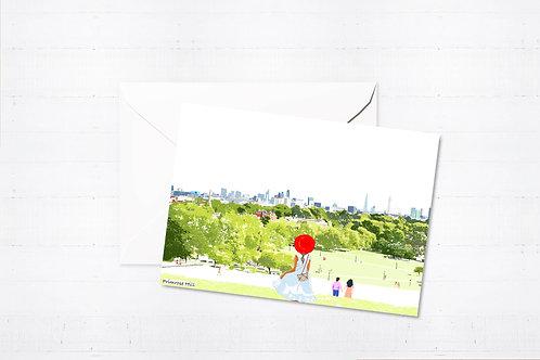 Njeri Illustrated Greeting Card Primrose Hill London City Scene Art Illustration
