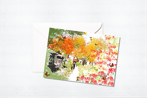 Njeri Illustrated Greeting Card Abney Park Stoke Newington Hackney London City Scene Art Illustration