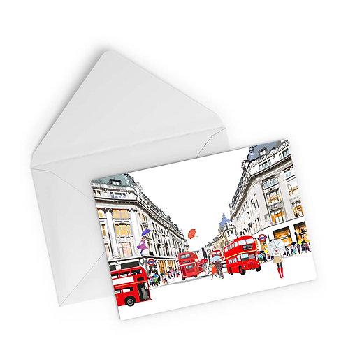 Njeri Illustrated Greeting Card Oxford Circus Bus Umbrella I Love London Transport City Scene Art Illustration