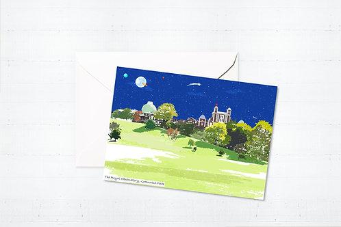 Njeri Illustrated Greeting Card Royal Obervatory London City Scene Art Illustration