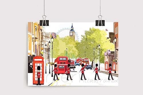 Njeri Illustrated Wall Art Print The Royal Guard Whitehall Marching London Eye Big Ben City Illustration