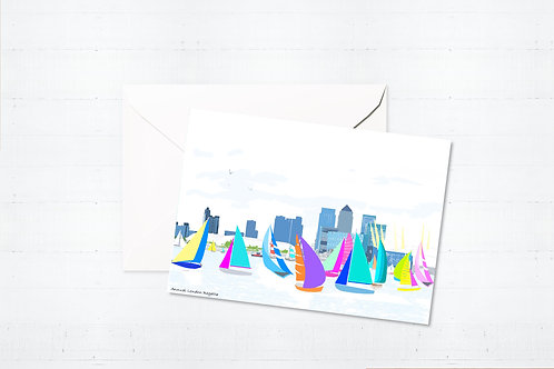 Njeri Illustrated Greeting Card London Regatta South City Scene Art Illustration