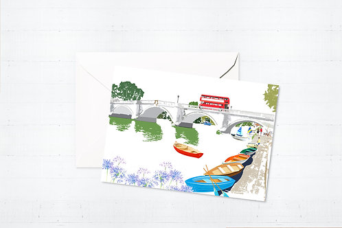 Njeri Illustrated Greeting Card Richmond Bridge London Barnes Richmond Scene Art Illustration