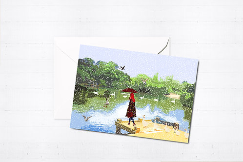 Njeri Illustrated Christmas Greeting Card Tooting Bec Common Balham South London City Scene Art Illustration