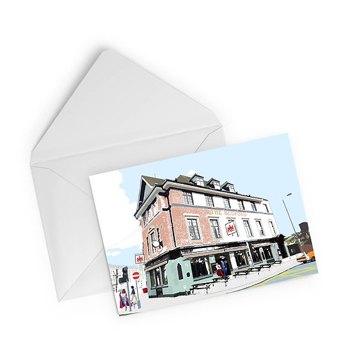 Njeri Illustrated Greeting Card The Bedford South London City Pub Scene Art Illustration