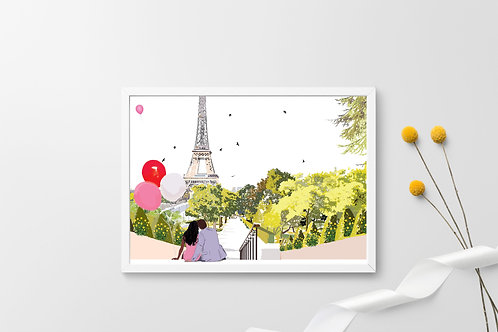 Valentine's Day Art Print, Personalized Art Print, Personalized Gift, Couples, Paris Art, Gift for Her, Eiffel Tower