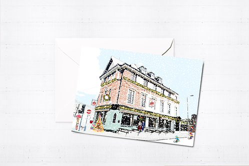 Njeri Illustrated Christmas Greeting Card The Bedford Station South London Transport City Scene Art Illustration