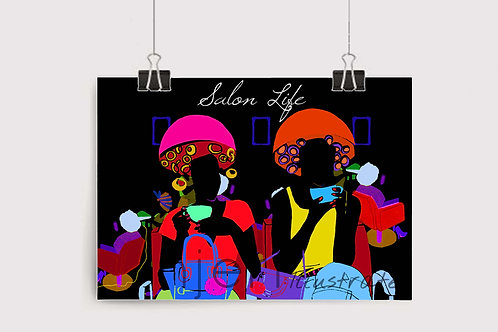 Njeri Illustrated Wall Art Print Salon Life Ladies Hair London City Scene Illustration