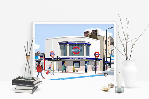 Tooting Bec Station Art Print, Personalized Gift, Bespoke Art, Birthday Gift, London Art, Letterbox Gift, For Him, For Her