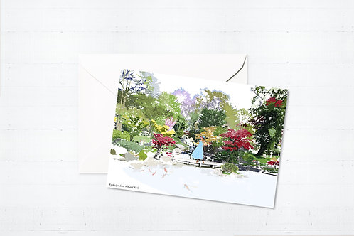Njeri Illustrated Greeting Card Kyoto Gardens West London City Scene Art Illustration